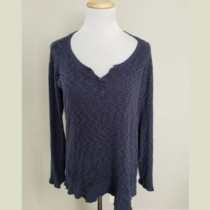 Left of Center Anthro Blue Raw Edge Slub Knit Top